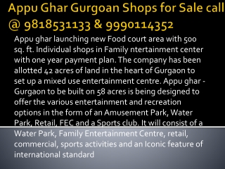 Appu Ghar Food Court Shops with 11% Assured Return in Gurgaon