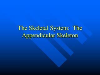 The Skeletal System:  The Appendicular Skeleton