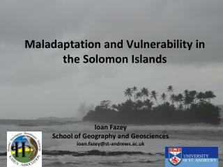 Maladaptation and Vulnerability in the Solomon Islands