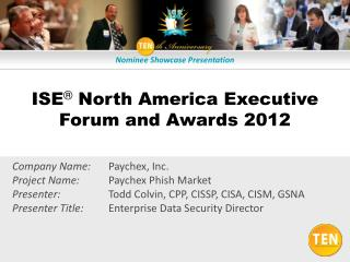 ISE  North America Executive Forum and Awards 2012