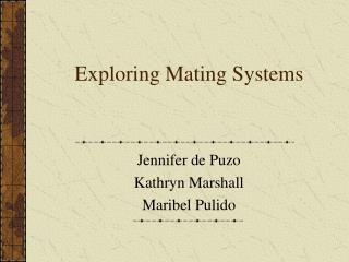 Exploring Mating Systems