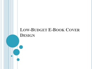Low-Budget E-Book Cover Design