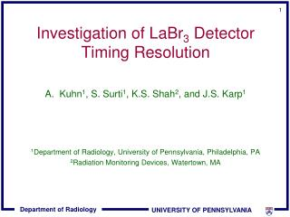 Investigation of LaBr3 Detector Timing Resolution