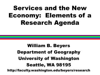 Services and the New Economy:  Elements of a Research Agenda