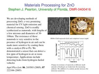 Materials Processing for ZnO Stephen J. Pearton, University of Florida, DMR-0400416