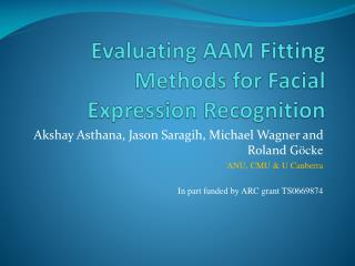 Evaluating AAM Fitting Methods for Facial Expression Recognition
