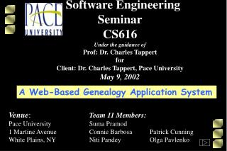 Software Engineering Seminar CS616 Under the guidance of Prof: Dr. Charles Tappert for Client: Dr. Charles Tappert, Pace