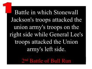 Battle in which Stonewall Jacksons troops attacked the union armys troops on the right side while General Lees troops at