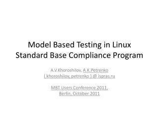 Model Based Testing in Linux Standard Base Compliance Program