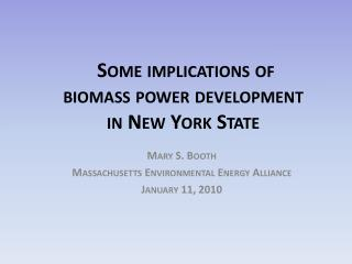 Some implications of biomass power development in New York State