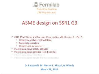 ASME design on SSR1 G3
