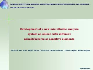 Development of a new microfluidic analysis system on silicon with different nanostructures as sensitive elements