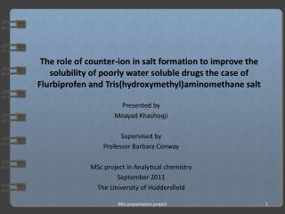 The role of counter-ion in salt formation to improve the solubility of poorly water soluble drugs the case of Flurbiprof