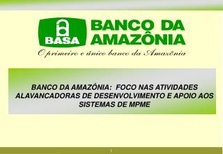 BANCO DA AMAZ NIA:  FOCO NAS ATIVIDADES ALAVANCADORAS DE DESENVOLVIMENTO E APOIO AOS SISTEMAS DE MPME