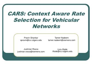 CARS: Context Aware Rate Selection for Vehicular Networks