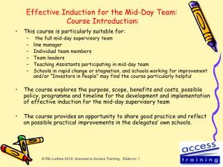 Effective Induction for the Mid-Day Team:  Course Introduction: