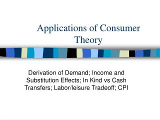 Applications of Consumer Theory