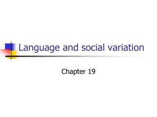 Language and social variation