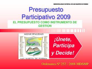 Presupuesto  Participativo 2009