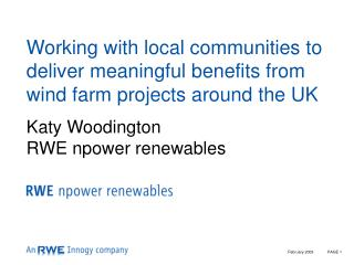 Working with local communities to deliver meaningful benefits from wind farm projects around the UK