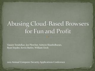 Abusing Cloud-Based Browsers for Fun and Profit