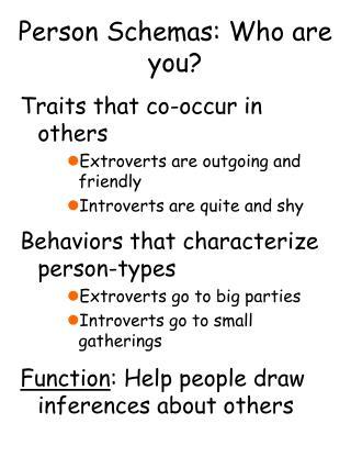 Person Schemas: Who are you