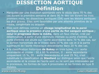 DISSECTION AORTIQUE D finition