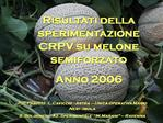 Risultati della sperimentazione CRPV su melone semiforzato Anno 2006
