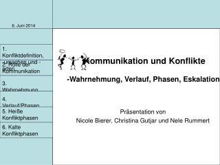 Kommunikation und Konflikte  -Wahrnehmung, Verlauf, Phasen, Eskalation-