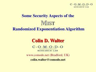 Some Security Aspects of the    Randomized Exponentiation Algorithm