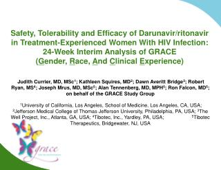 Safety, Tolerability and Efficacy of Darunavir