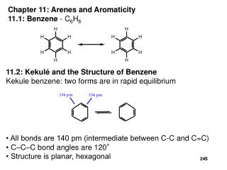 Chapter 11: Arenes and Aromaticity 11.1: Benzene - C6H6