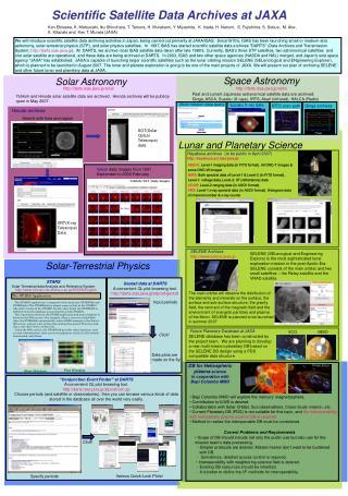 Scientific Satellite Data Archives at JAXA