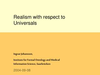 Realism with respect to Universals