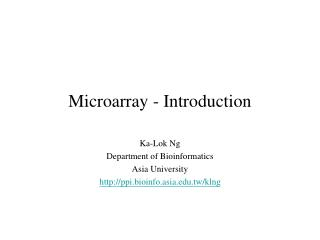Microarray - Introduction