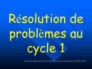 R solution de probl mes au cycle 1
