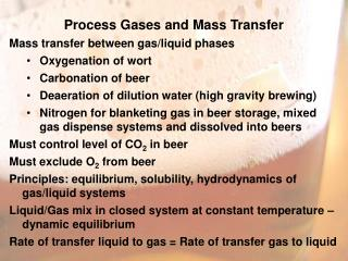 Process Gases and Mass Transfer Mass transfer between gas