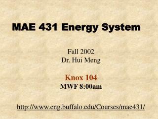 MAE 431 Energy System