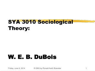 SYA 3010 Sociological Theory:      W. E. B. DuBois