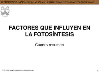 FACTORES QUE INFLUYEN EN LA FOTOS NTESIS