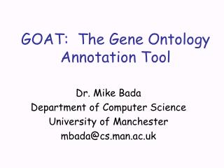 GOAT:  The Gene Ontology Annotation Tool