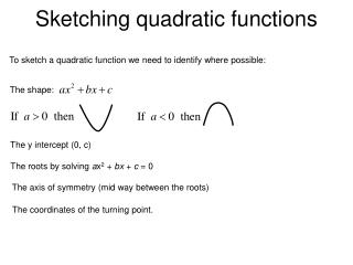 Sketching quadratic functions