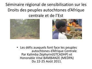 S minaire r gional de sensibilisation sur les Droits des peuples autochtones d Afrique centrale et de l Est