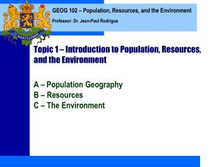 Topic 1   Introduction to Population, Resources, and the Environment