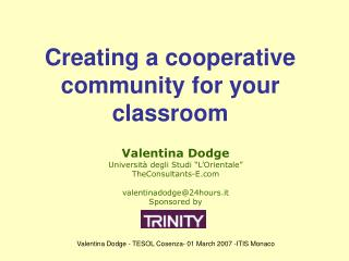 Creating a cooperative community for your classroom