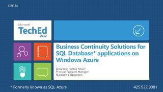 Business Continuity Solutions for SQL Database applications on Windows Azure