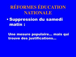R FORMES  DUCATION NATIONALE