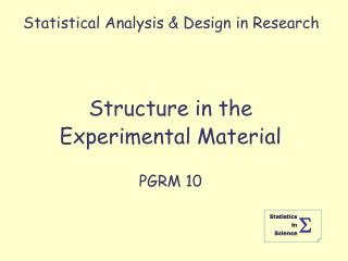 Statistical Analysis  Design in Research