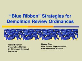 Blue Ribbon  Strategies for Demolition Review Ordinances