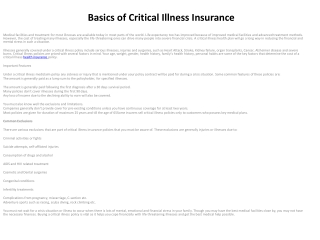 Basics of Critical Illness Insurance